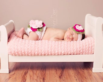 Pink Fancy Flower Baby Crochet Diaper Cover and Headband Set