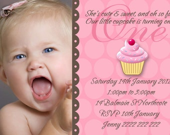 Personalised cupcake 1st Birthday Baby Girl Invitation - DIY Printing - JPEG File