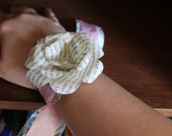 Book flower and lace, and ribbon wrist corsage