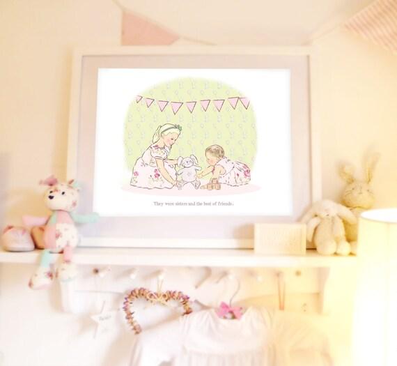 "Girls room art, Childrens wall art, Kids wall art,  wall art for nursery, Illustration for kids,, ""The Toy"" , 16.5 x 11.7"