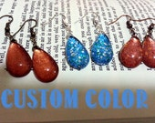 Teardrop Dangle Earrings-- Glitter Nail Polish Custom Made To Order