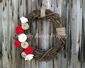 Grapevine Burlap Wreath with Jute twine and burlap flowers