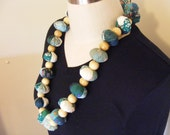 Green necklace, fabric yo-yo, wooden beaded, costume jewelry, one of a kind necklace.