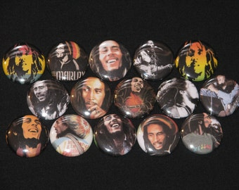 15 Marley Flatback or Pinback buttons 1 inch badge