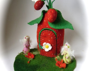 Strawberry Fairy  House. Hand Felted.Waldorf Fariry elf. Wet Felted.