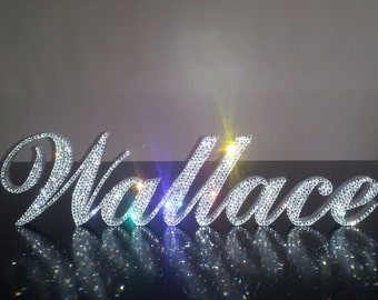 swarovski crystal your first or last name six letters 5 tall standing sign