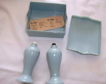 Carvanite Vintage Plastic Salt and Pepper Shakers in Case French Blue