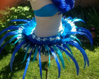 Tahitian turquoise and ocean blue feather and more/hau hip belt