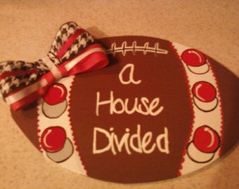 Wooden House Divided  Alabama/Tennessee Sign
