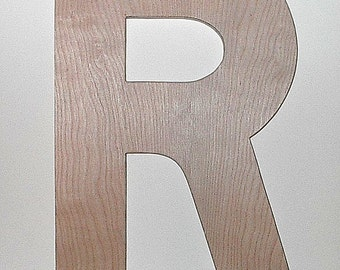 "Wooden Letters R 18"" Rustic Wedding Guestbook DIY Home Improvement Nursery Letters Kid Wall Art Unfi nished"