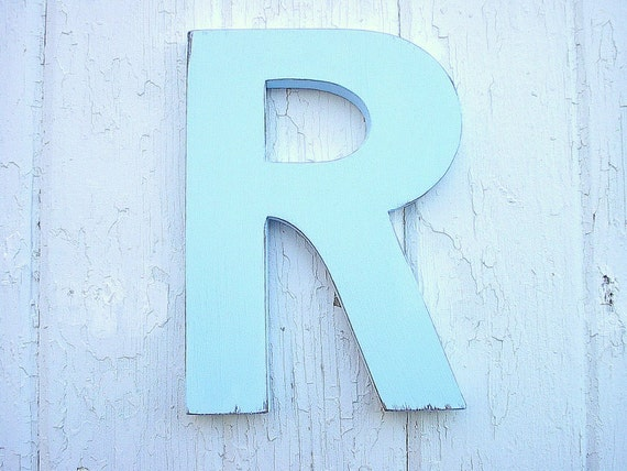 """Shabby Chic Wooden Letter R 12"""" Blue Baby Shower Boys Room Weddng Initial Rustic Cabin Cottage Decor"""