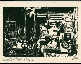 Central Park Plaza, NYC Art, Original Linocut Print, 1949