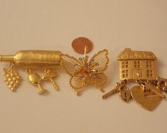 1/2 OFF SALE 3 Vintage Brooch Lot