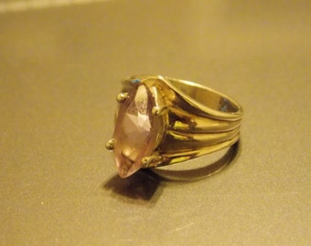 Vintage Sterling Silver Marquise Cut Amethyst Ring Size 6 1/2