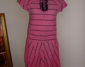 Vintage pink & black striped set  S