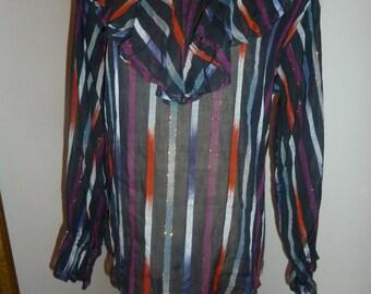 Vintage ikat striped blouse M/L