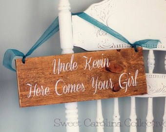 Wooden Wedding Sign - Here Comes Your Girl Ceremony Sign on Reclaimed Wood WS-105
