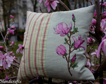 Magnolia Pillow Hand-Sewn Handmade Stich Cross stich Needlecraft
