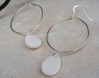 White tear drop mother of pearl Hoops