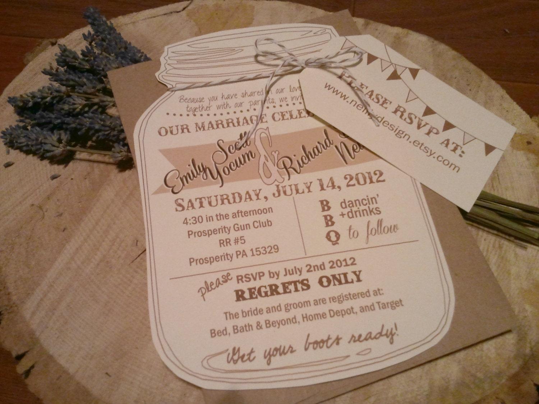 Cottage Mason Jar Wedding Invitation: Mason Jar Wedding Invitations With RVSP Luggage By
