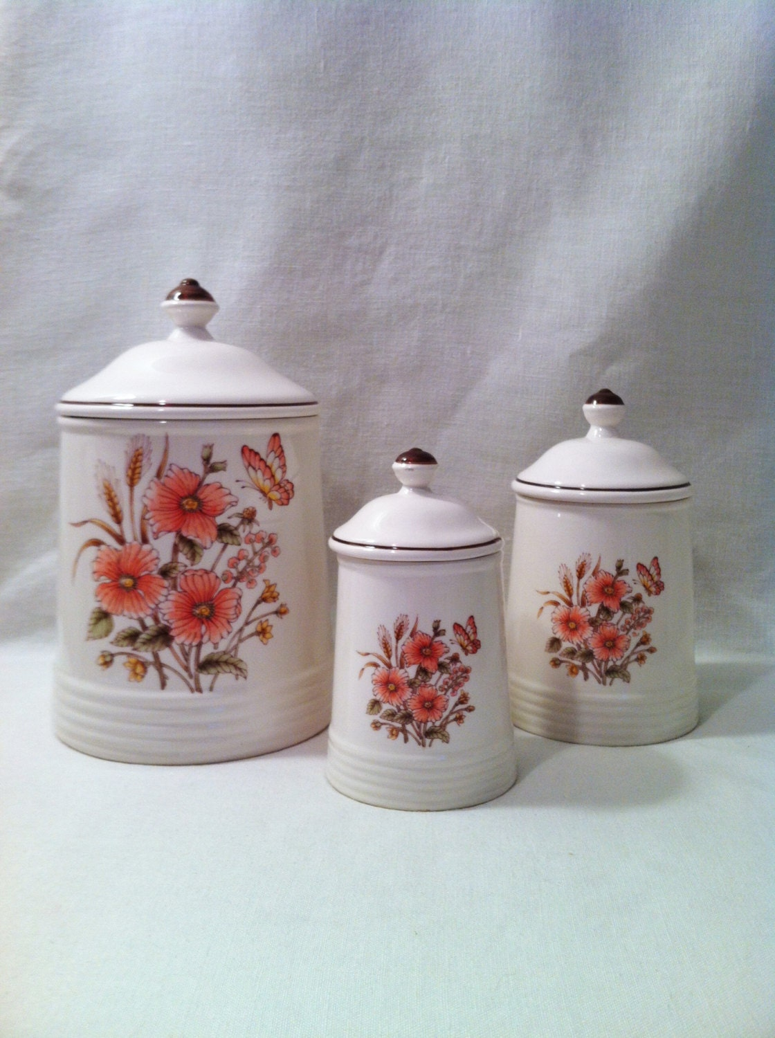 Lovely Vintage Canisters Ivory Pink Coral Brown Floral