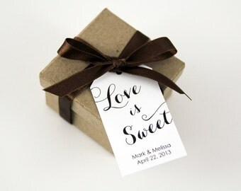 Love is Sweet - Wedding Favor Tags - Custom Tags - Personalized Tags - Jam Favors - Candy Favors - Dessert Favors - MEDIUM