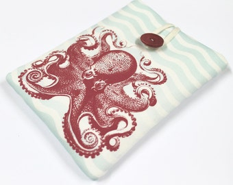 Macbook Pro Sleeve, Sea Foam and Red Octopus Macbook Case for Macbook Air, Macbook Retina Laptop Case, Sea monster, travel case, protective