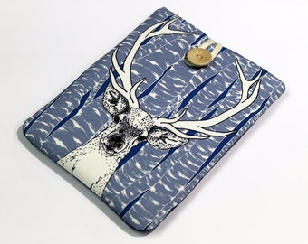 Tablet travel case, protective cover, Kindle Paperwhite sleeve, blue woodland  Deer Spirit, 7 in tablet case, Nexus 7 case, Nook HD 7 cover