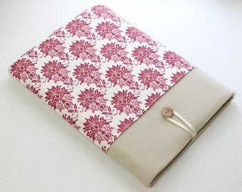 Women's Red pink damask fabric case for Asus Zenbook and other laptops 11 in, 13in, 15 in, 17 in