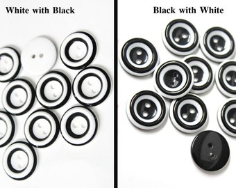 25 Pcs Black and White Buttons for Sewing  Fashion Crafts Supplies and Accessories - Choose Your Color