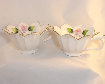 Vintage Holt Howard Flower Teacup Style Candle Holders with Gold Trim - 1960