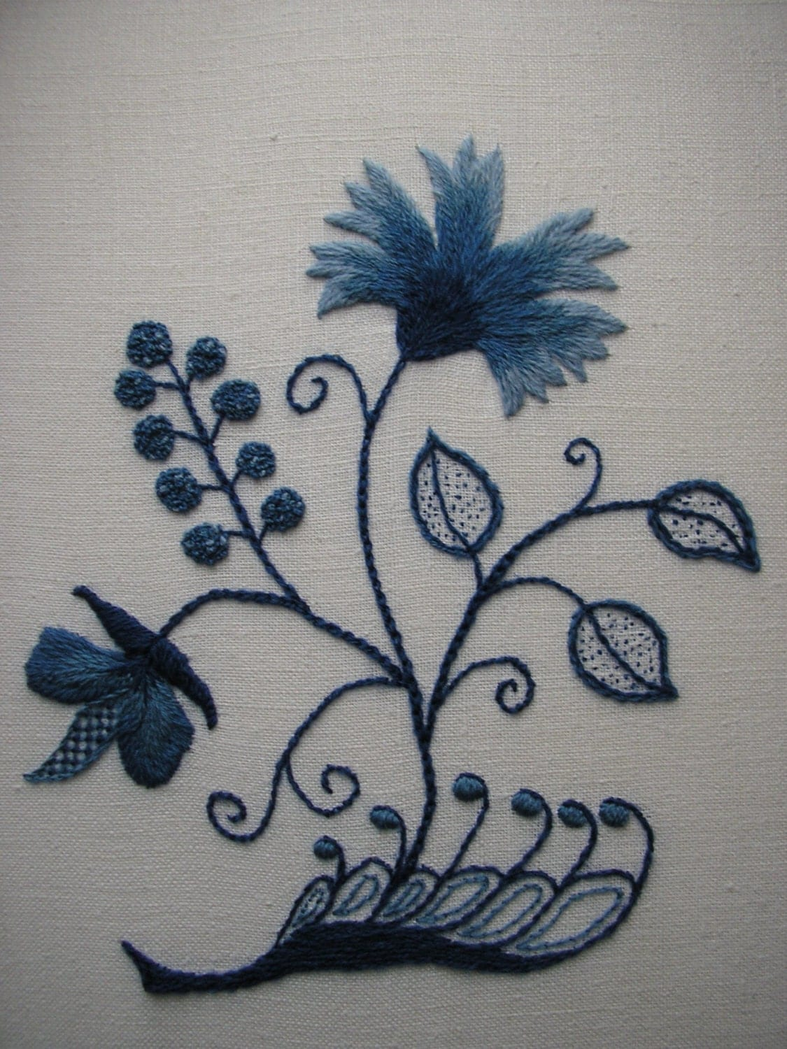 Reduced Blue And White Crewel Embroidery Colonial Deerfield