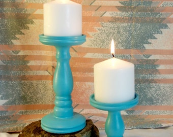 Southwestern Duo Pillar Candle Holders
