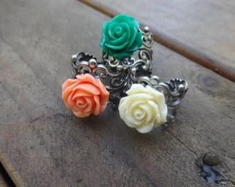 Silver Filigree Adjustable Ring - Green - Orange - Cream
