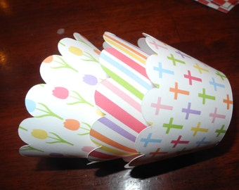 Easter Blessings Cross Cupcake Wrappers  Set of 12  Faith