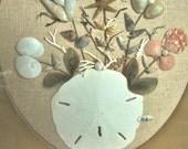 Vintage Sea Shell Art - Beach Kitsch- Framed - 1970s - Boho - Beach Cottage - Wall Decor - Shells Flowers on Burlap.