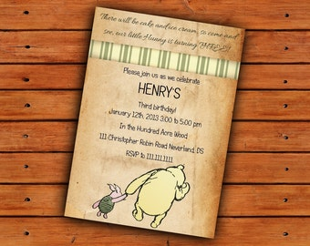 Vintage Winnie the Pooh Digital Pri ntable Invitation - 5x7 ...