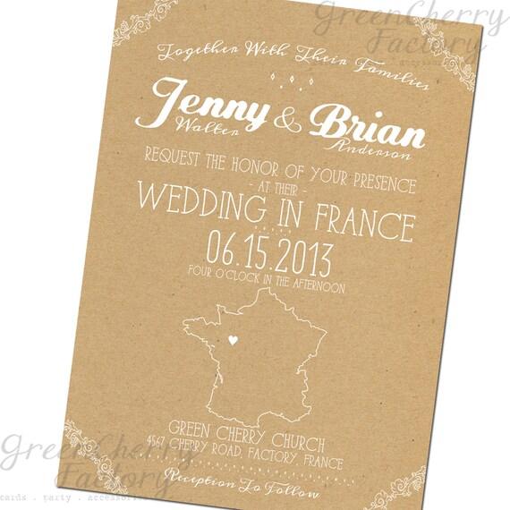 Items Similar To Map Destination Wedding Invitation