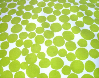 """0.5 yard Oilcloth - Laminated waterproof Cotton tablecloth in kiwi green pebble dots 52"""" wide"""