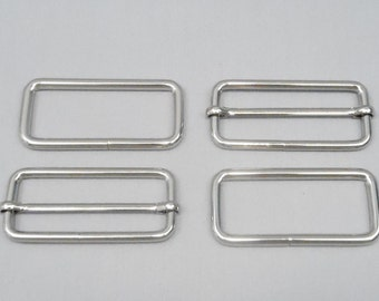 20 Sets 2 Inch (51mm) Silver Strap Adjusters and 2 Inch Rectangle Rings