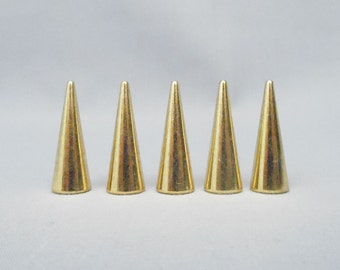 SALE 10 Gold One Inch Cone Spikes
