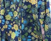Vintage FLOWER POWER  Denim Yellow Blue Green Ladies Jacket By Analogy Size Medium