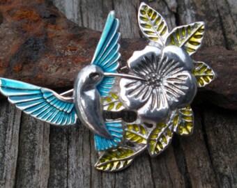 Something Blue Hummingbird with Flower Brooch