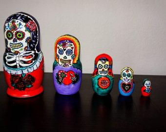 Original Hand-Painted Dia De Los Muertos Sugar Skull Matryoshka Nesting Doll Set