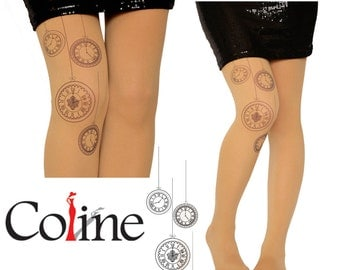 Vintage Clock Tattoo Tights Pantyhose,Decorative Flower Print tattoo Leggings,Tattoo Tights,Handmade Pantyhose