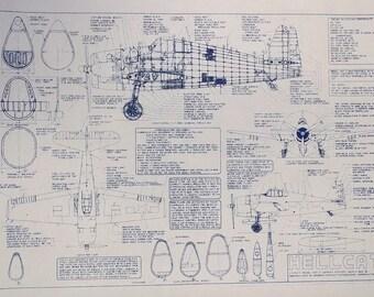 WW II US Navy Hellcat Blueprint