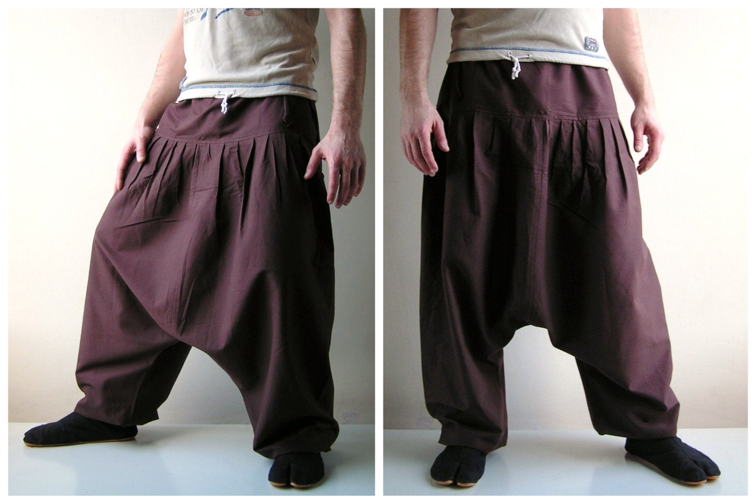 Brown Harem Pants Yoga Pants Aladdin Pants Harem by manaKAmana