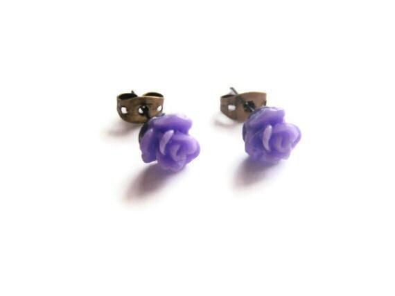 Tiny Rose Earrings - Purple Violet Lavender - Little Flowers