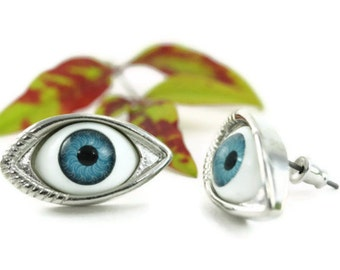 Evil Eye Earrings, Blue Eyeball Statement Divergent Insurgent Allegiant All Knowing Seeing Erudite Eyes Wicca Protection Pop Culture Quirky