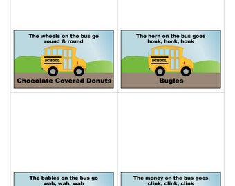 Wheels on the Bus Printable Food Labels - Instant Digital Download
